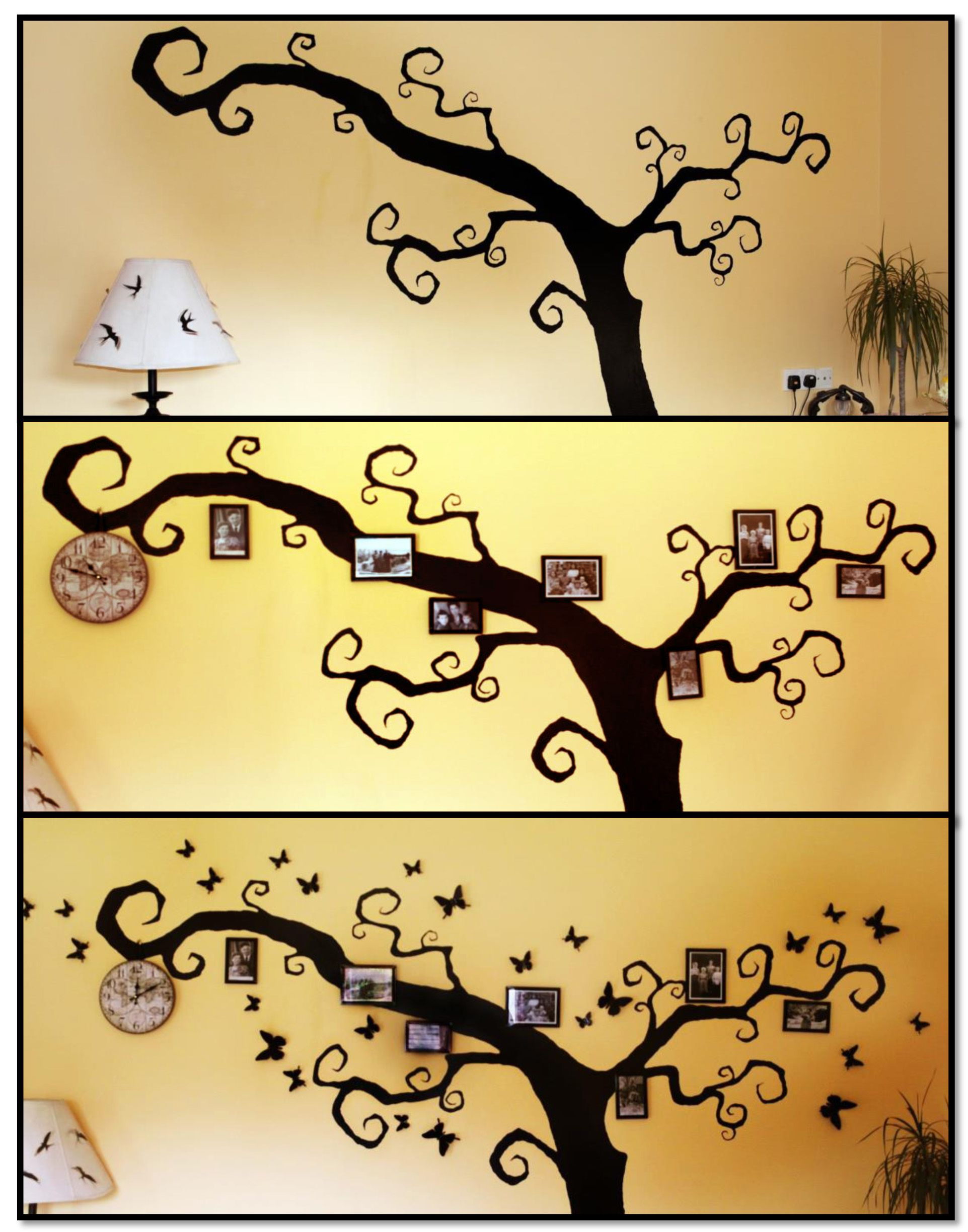 A fun idea how to make a family photo tree on your wall. All you ...