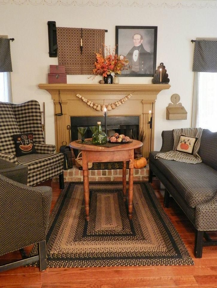 Pin By The Old Mercantile On Primitive Decor Primitive Living Room Colonial Living Room Primitive Decorating Country #primitive #decor #ideas #living #room