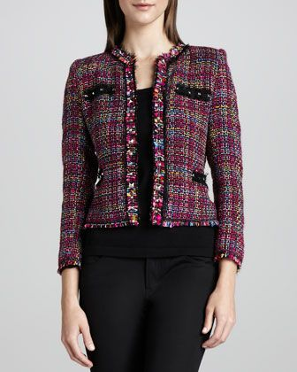 Multicolor+Tweed+Jacket+&+Knit+Tank,+Women\'s+by+Michael+Simon+at+Neiman+Marcus.