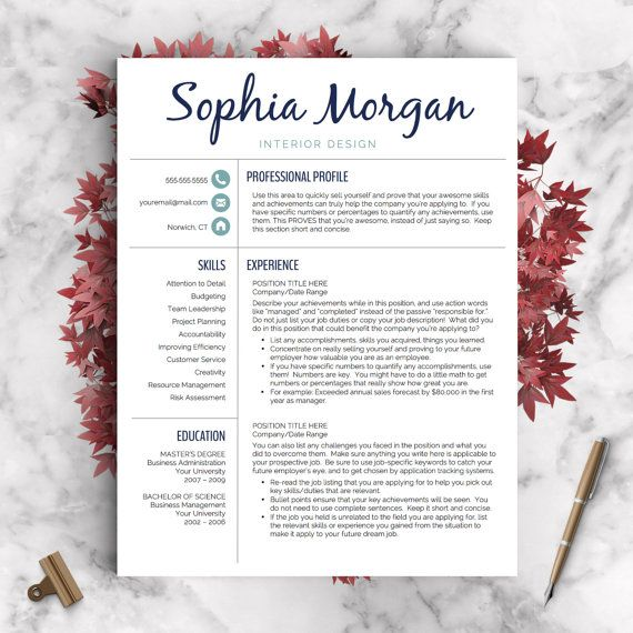Modern Resume Template For Word And Pages Us By Landeddesignstudio