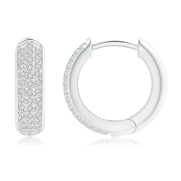 Angara Diamond Huggie Hoop Earrings in White Gold i2WwTV
