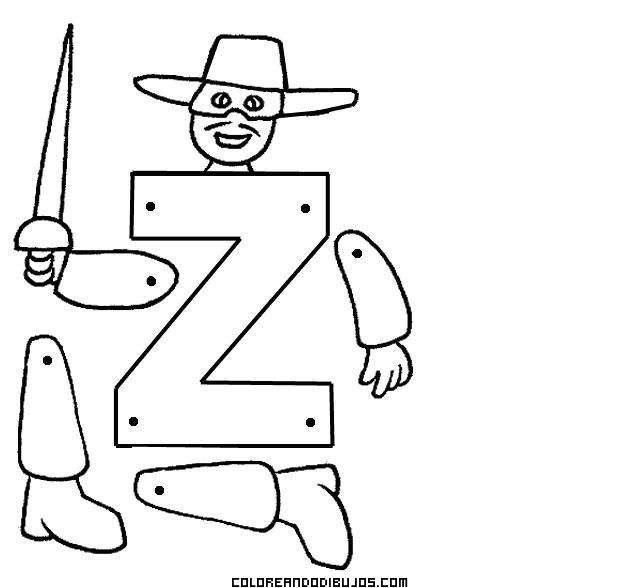 Letra Z articulada para recortar y colorear | Abecedarios ...