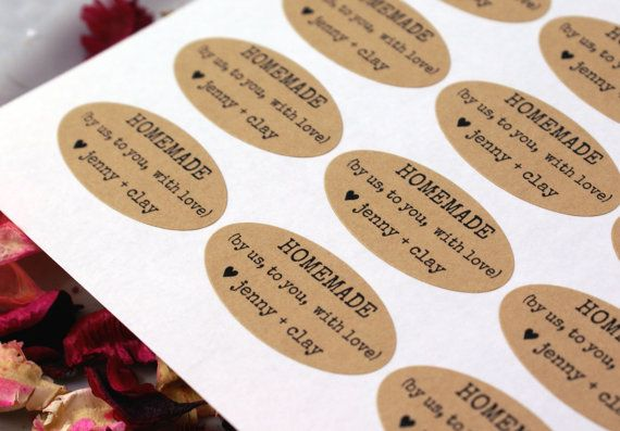 I used to order these craft paper labels (HOMEMADE with love), but now I make them myself.