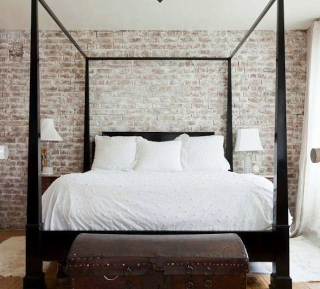 A dash of black bricks exposed brick and white wash brick for Brick accent wall bedroom
