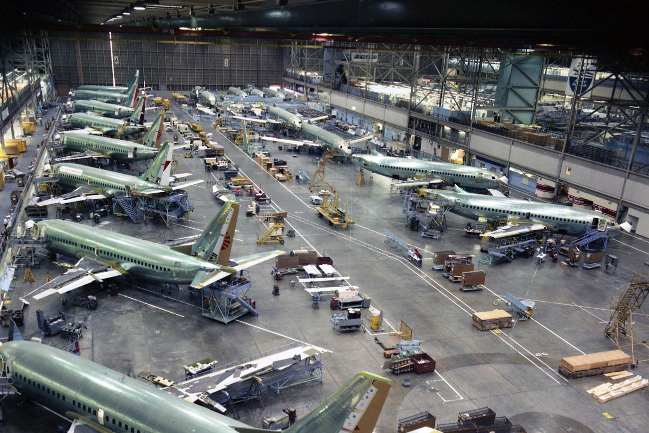 The Boeing 737 Assembly Line Number 1 At Renton In The 1980s As The