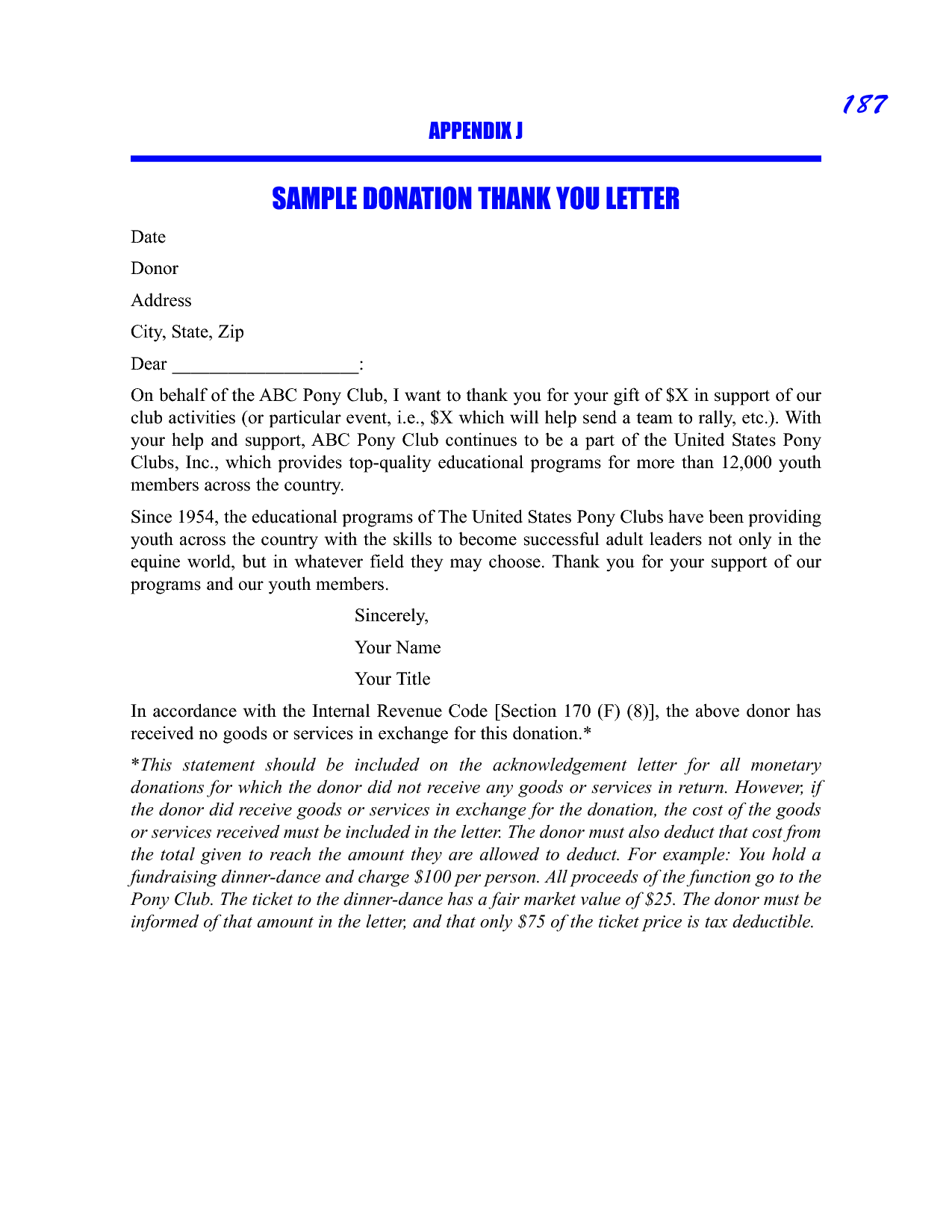 thank you letter for donation sample thank you letter  thank