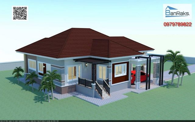 Single story house with hip roof 3 bedrooms 2 bathrooms