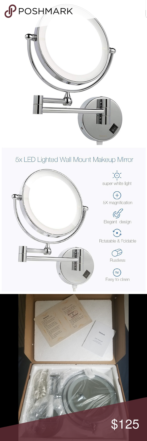 Homever Lighted Wall Mount Makeup Mirror with 1x/5 Size