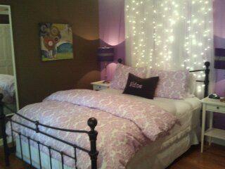 Lavender & brown tween girls room. Sheers, lights and rod behind ...