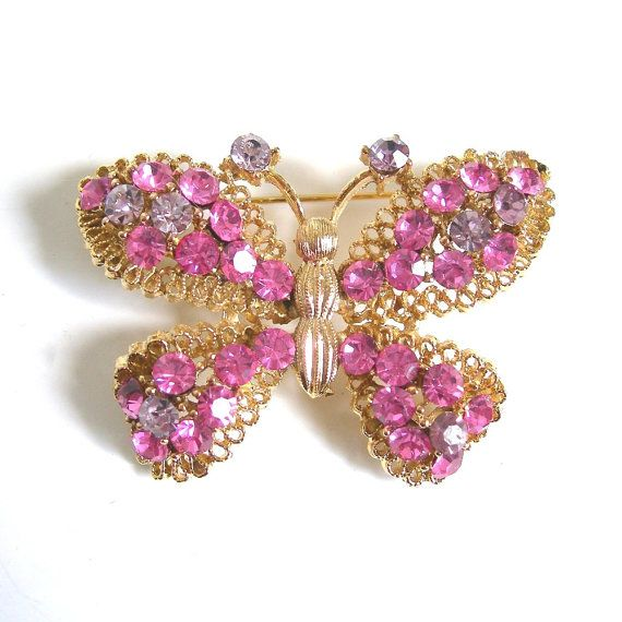 Rhinestone Butterfly Brooch Pink and Lavender by AtticDustAntiques, $24.00