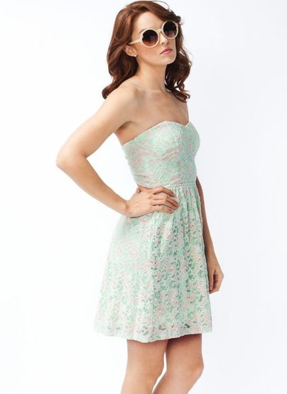 strapless lace cut-out dress