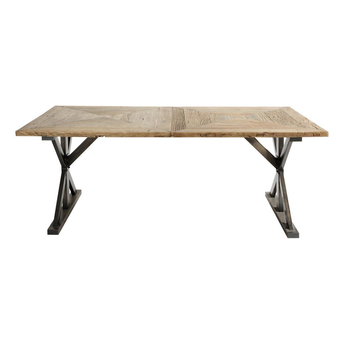 Table De Salle à Manger En Orme Recyclé L Cm Liège MAISON DU - Table pliante 240 cm pour idees de deco de cuisine