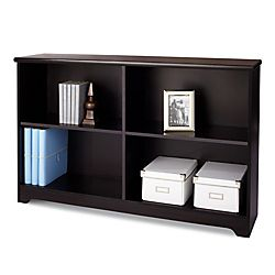 "office depot $99  Realspace® Magellan Collection 2-Shelf Sofa Bookcase, 29""H x 47 1/4""W x 11 3/5""D, Espresso"
