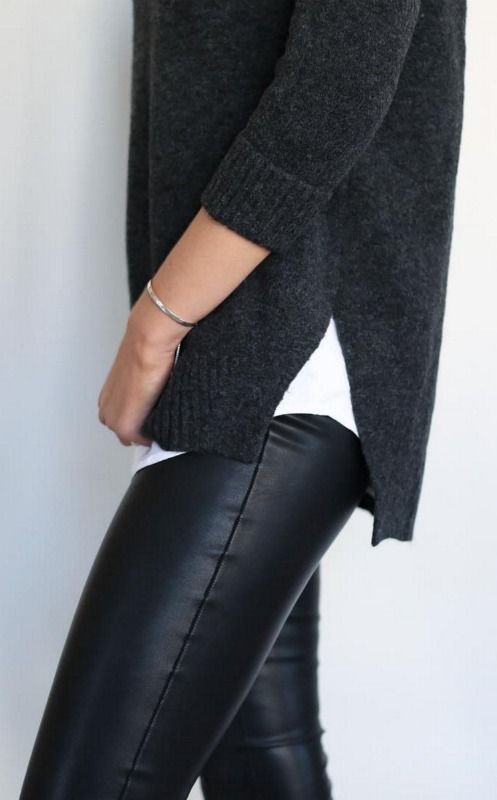 Black leather leggings white tank grey knit sweater {casual outfit ootd} | MEMORANDUM ...