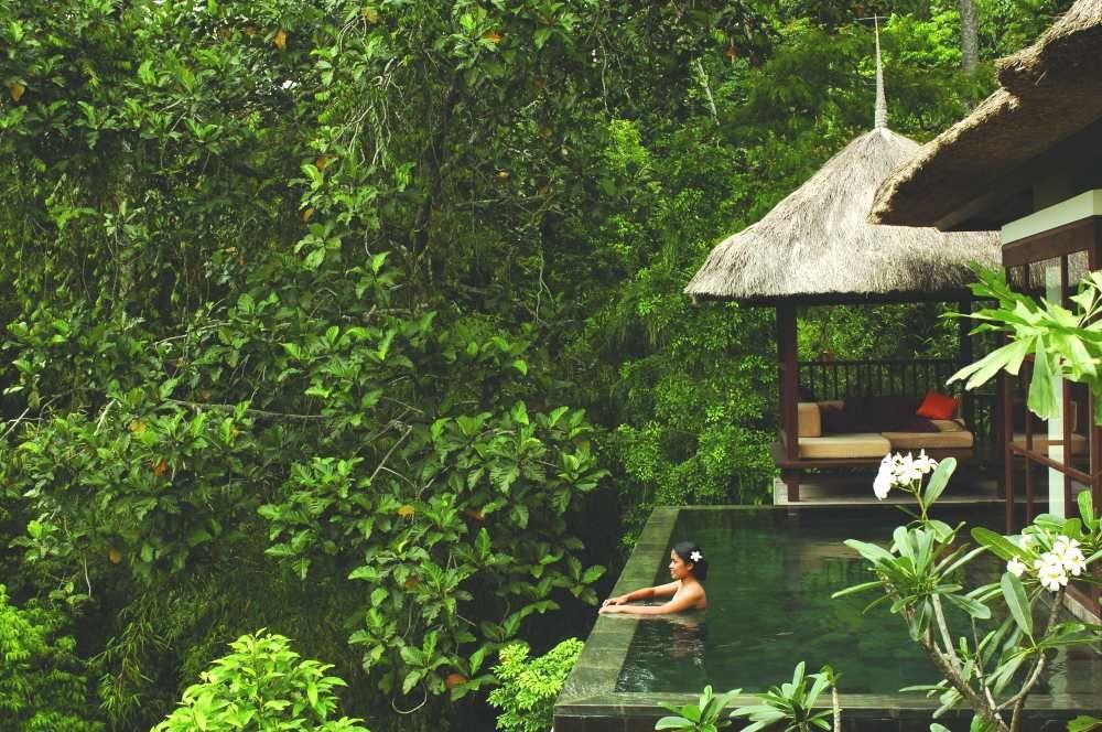 Panoramic deluxe pool villa ubud hanging gardens photo for Best luxury hotels in ubud bali