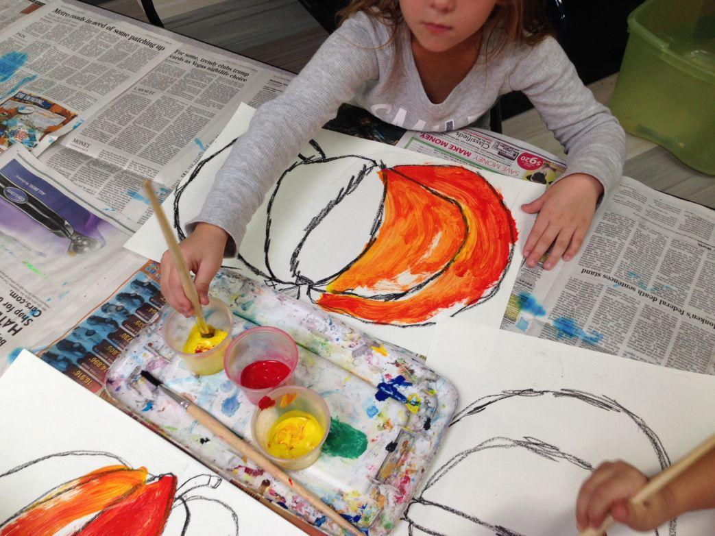 1st Grade Pumpkins Part 2 Painting Amp Color Mixing