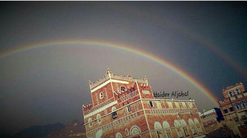 قوس قزح صنعاء اللهم امطر اليمن مطر المؤمنين Clouds Outdoor Country