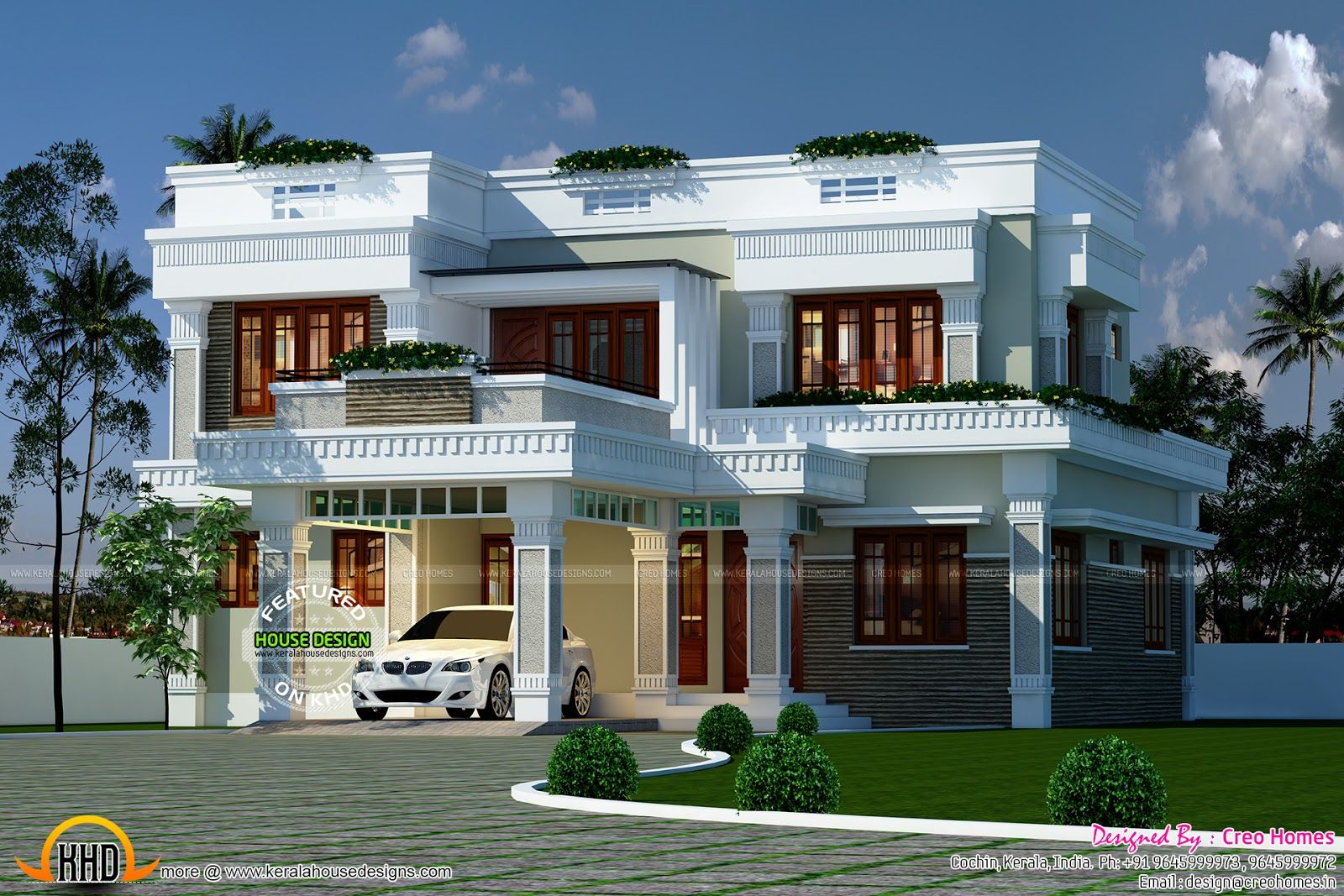 Decorative Flat Roof Home Plan House Roof Bungalow House Design Flat Roof House Designs