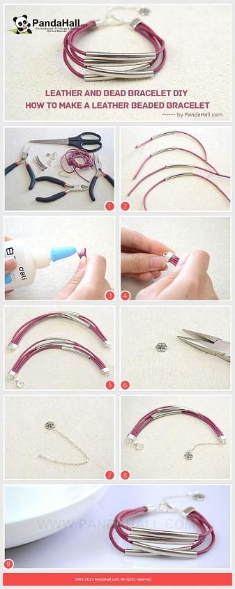 Leather and Bead Bracelet DIY - How To Make A ...   Jewelry Making Tu…