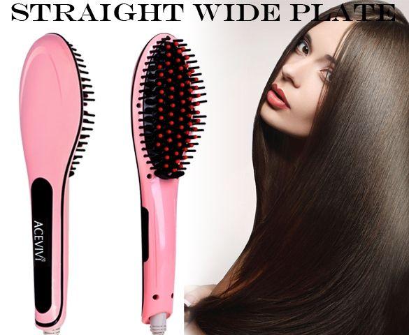 ACEVIVI Pink Digital Electric Hair Straightener Comb