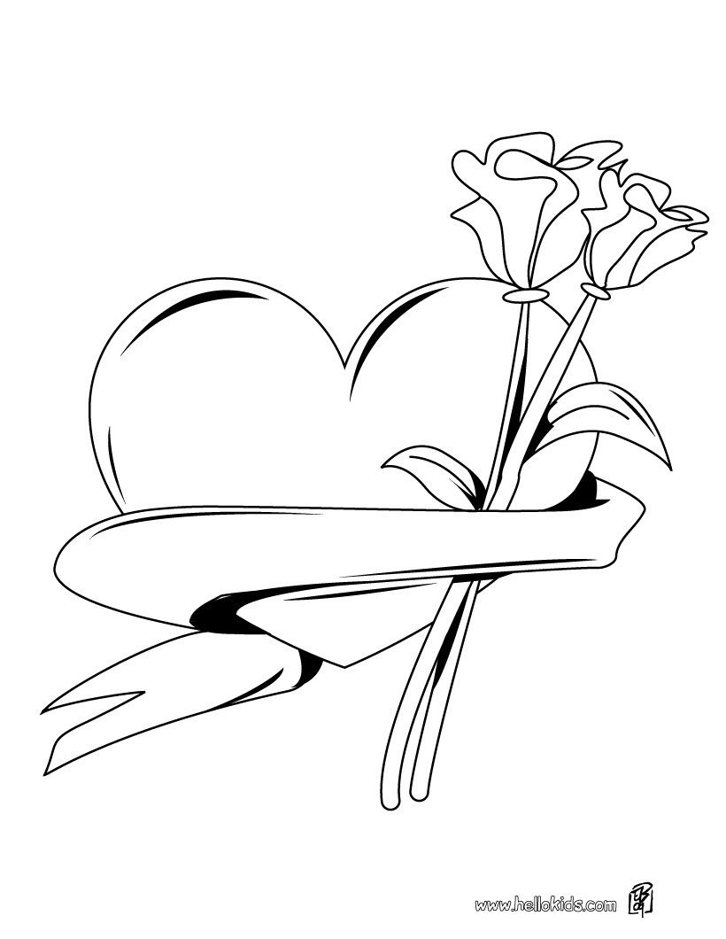 Heart with roses coloring page | Printable Hearts Coloring ...