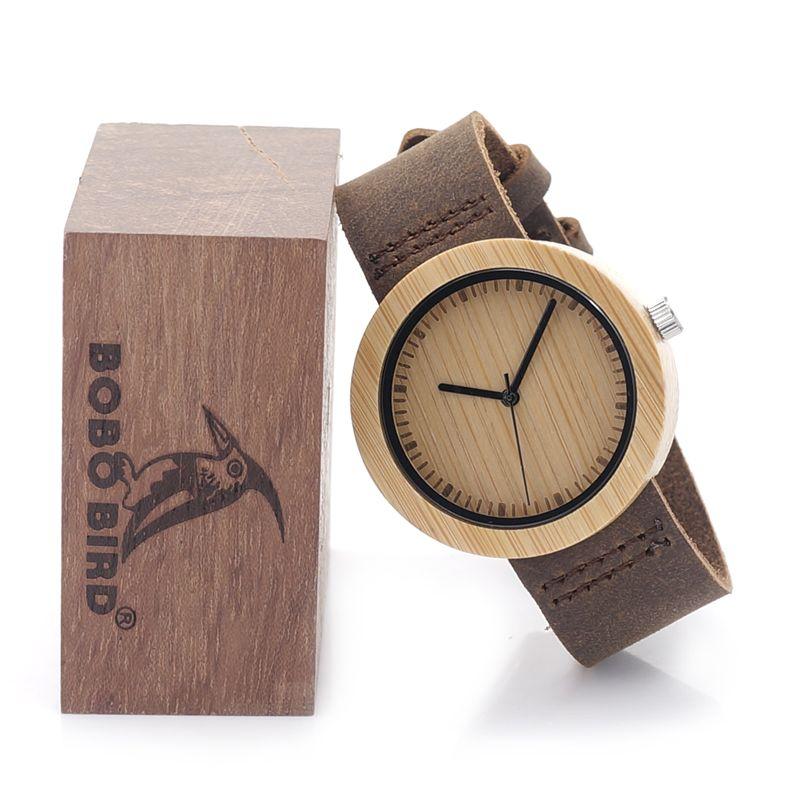 BOBO BIRD D08-1 Women Wooden Watch Round Wood Case Bamboo Dial Ladies Quartz-watch Clock in Gift Box zegarki damskie