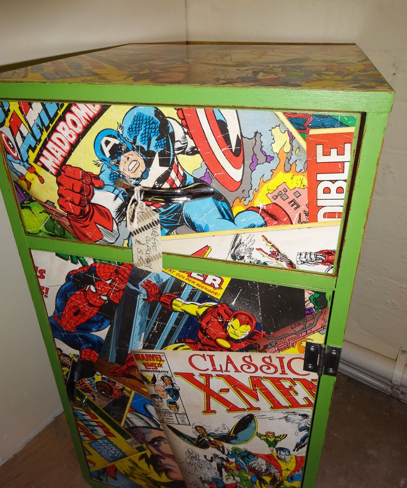 diy comic book desk. Retro Green Painted Up-cycled Storage Cupboard Decoupaged With Marvel Paper In Home, Furniture \u0026 DIY, Furniture, Tables Diy Comic Book Desk