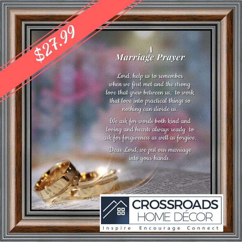 Framed Prayer for Your Marriage, Christian Wedding Gift