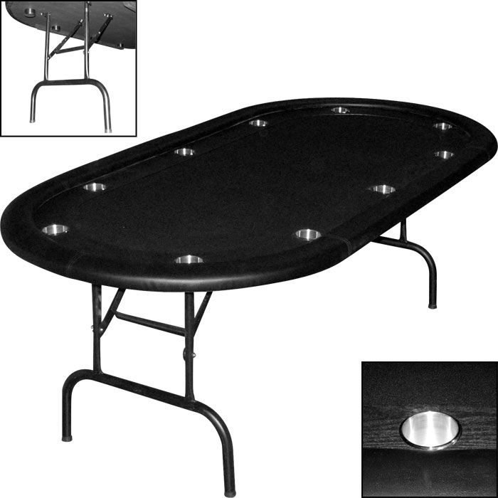 Black Texas Holdem Poker Table W/ Racetrack U0026 Folding Legs   Click Image  For Pricing