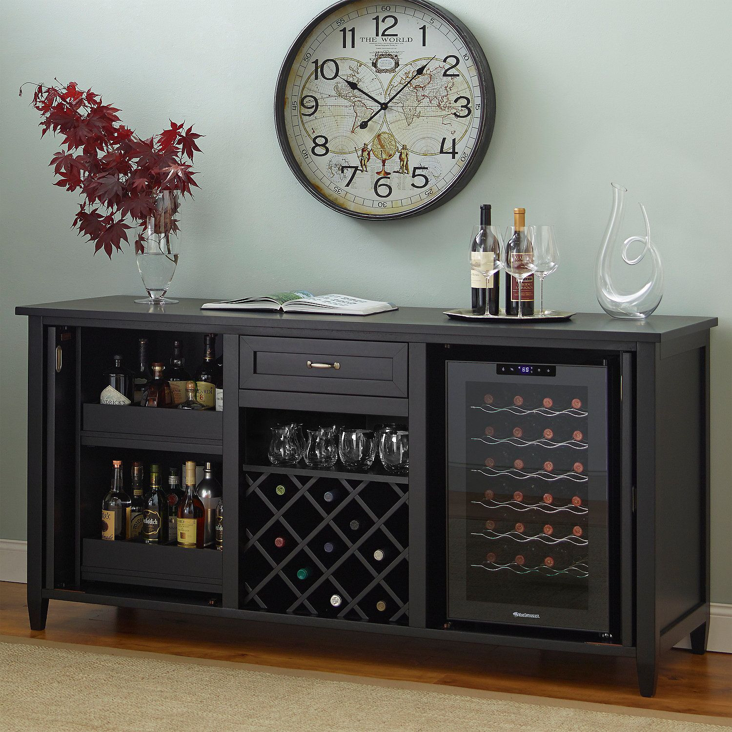 Firenze Wine And Spirits Credenza With 28 Bottle Touchscreen Refrigerator Nero Enthusiast