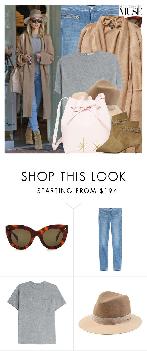 """""""Celebrity Style: Rosie Huntington-Whiteley"""" by nastyaafanasova ❤ liked on Polyvore featuring CÉLINE, J Brand, T By Alexander Wang and rag & bone"""