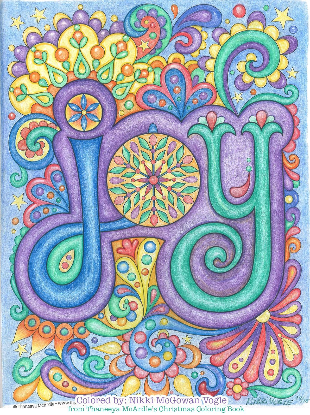 Joy coloring page from Thaneeya McArdle's Christmas
