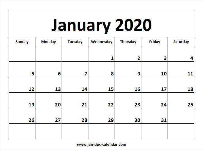 December 2020 Calendar With January 2020 January 2020 Calendar | January December Calendar | September
