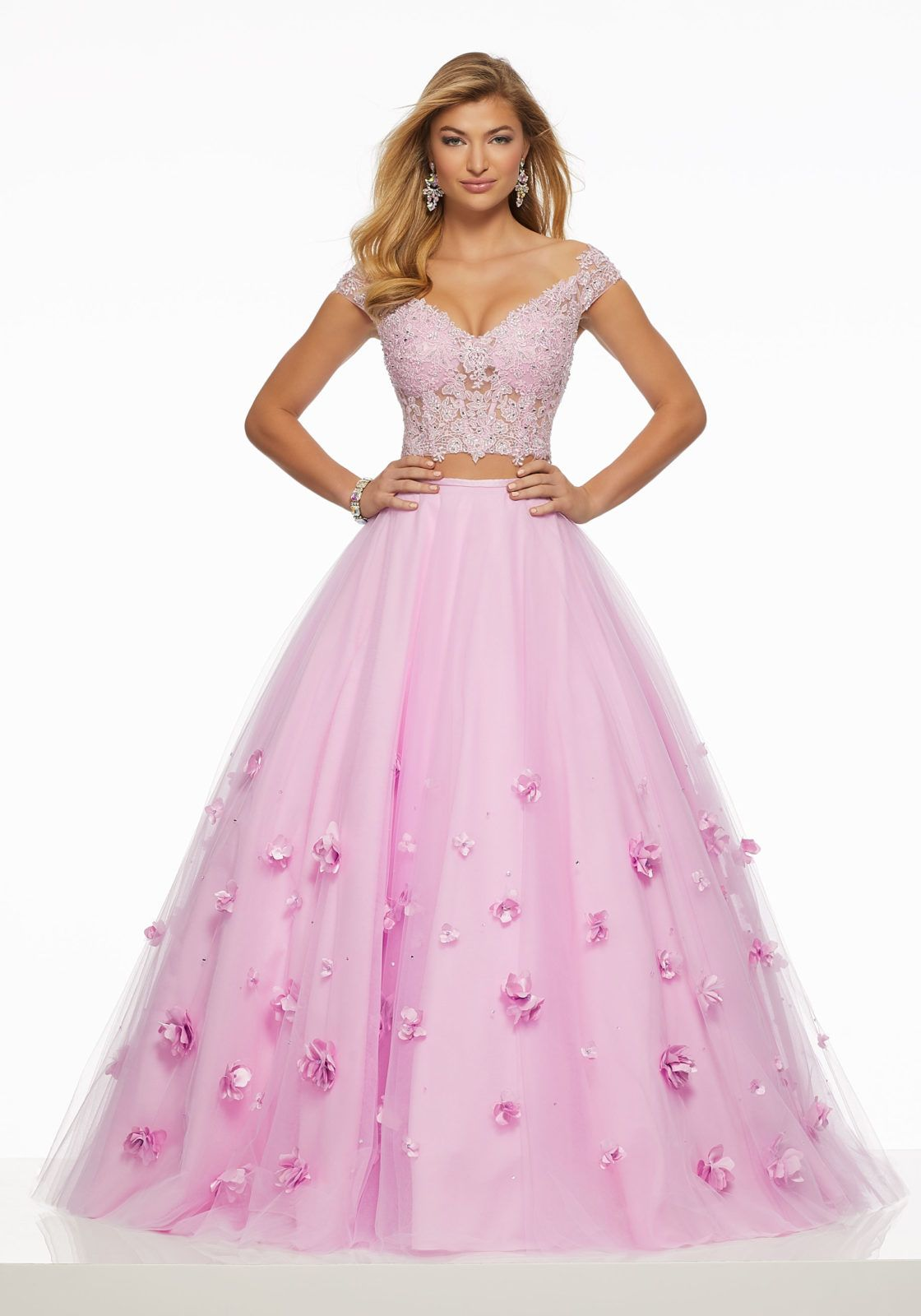 a7432b37bbd Two-Piece Beaded Lace on Net Top with Tulle Skirt with Three-Dimensional  Floral Appliqués  quinceanera  quinceaneradress  vestidosdequince