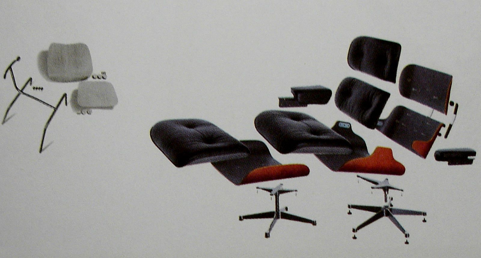 Exploded Views Of Vitra Eames Lounge Chair And Ottoman And A Disassembled Dcm Eames Eames Lounge Chair Lounge Chair