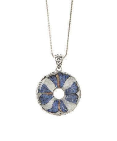 $99.99 Love this Gemstone & Sterling Silver Flower Pendant Necklace on #zulily! #zulilyfinds
