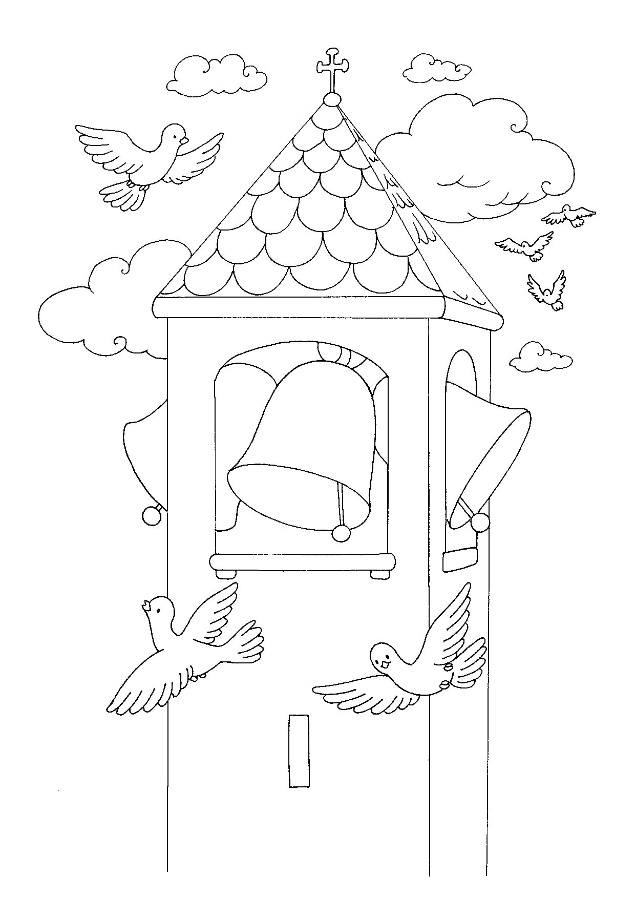 Campanile Da Colorare Coloring Pages Easter Crafts Easter