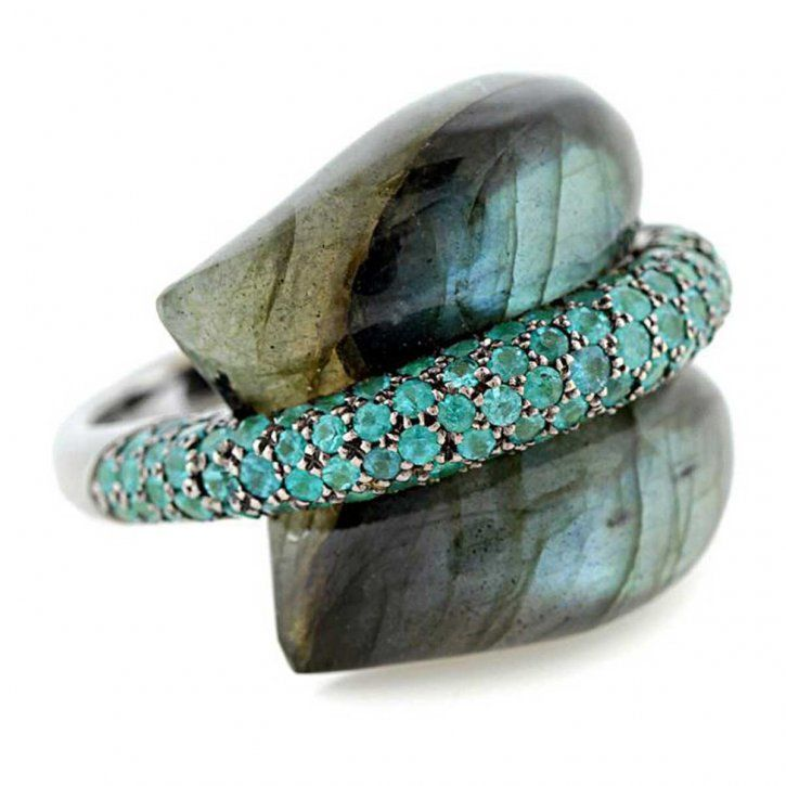 "Palladium and black rhodium ""Pillow for Dreaming"" ring featuring a carved Labradorite accented with paraiba Tourmalines by Ion Ionescu"