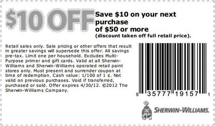 10 Off At Sherwin Williams Coupon Printable Coupons Sherwin