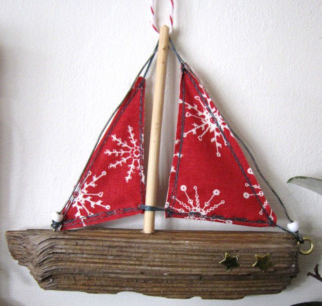 driftwood boat christmas decoration red sails slightly larger