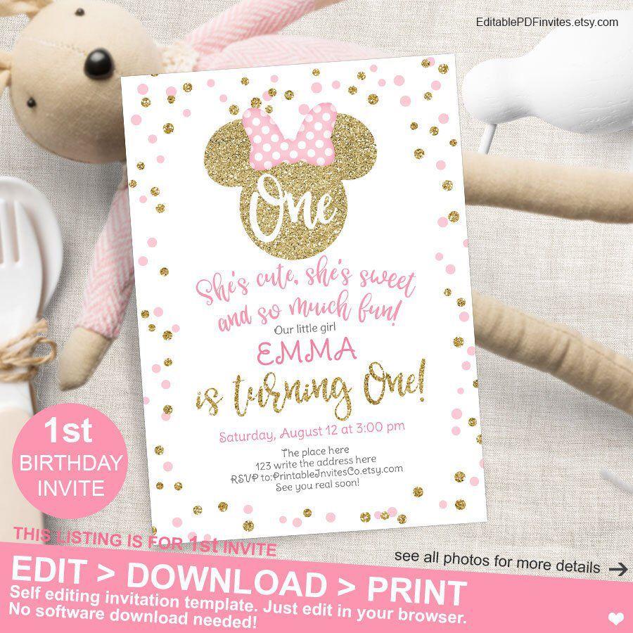 Pink and Gold Birthday Invite, First Birthday, Minnie Invitations ...