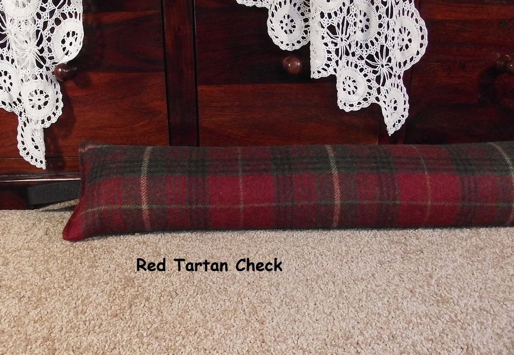 Draught excluder 1.9kg - Dark Red  + Green Tartan Check Wool fabric heavy weight