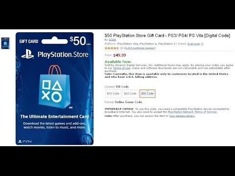 50 Playstation Store Gift Card Ps3 Ps4 Ps Vita Digital Code