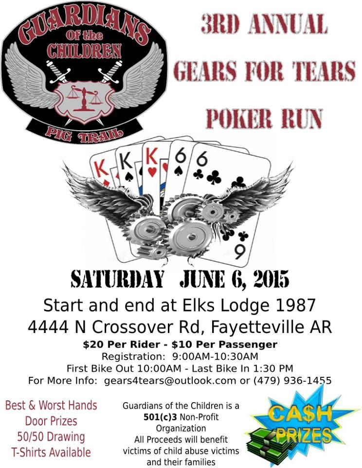 Fayetteville, AR - June 6, 2015: 3rd Annual Gears for Tears Poker Run. Proceeds go to Guardians of the Children - Pig Trail Chapter and are used to assist abused children and their families. http://www.cyclefish.com/event/29800/
