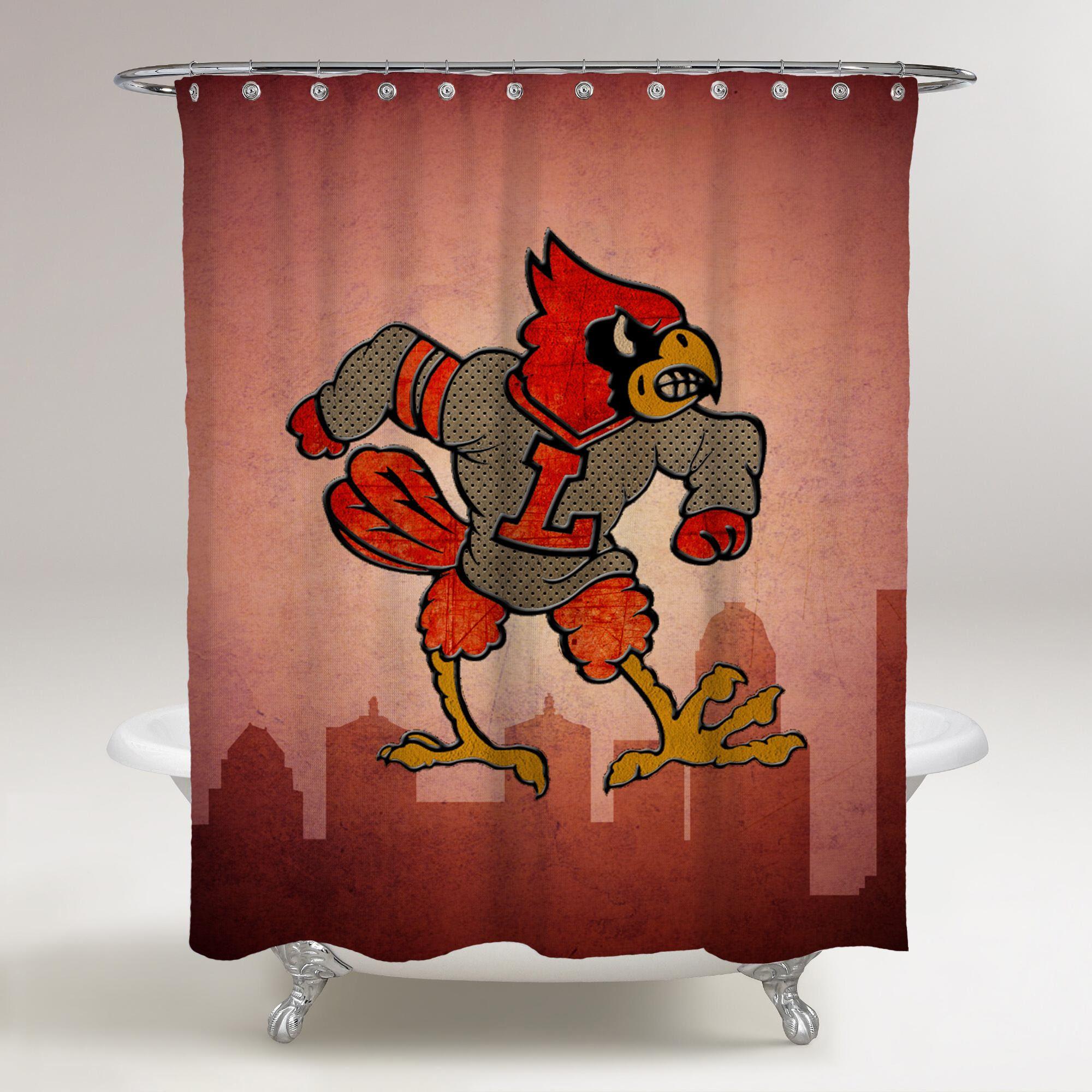 Louisville Cardinals Logo City Background Printed Shower Curtain