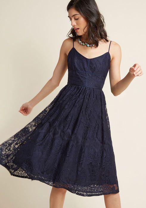 4bb06911066 Strike It Lovely Lace Midi Dress in Navy