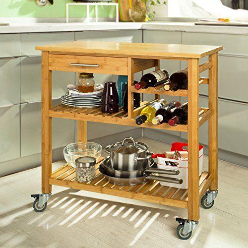 sobuy fkw23 n desserte de cuisine roulante bambou meubl. Black Bedroom Furniture Sets. Home Design Ideas