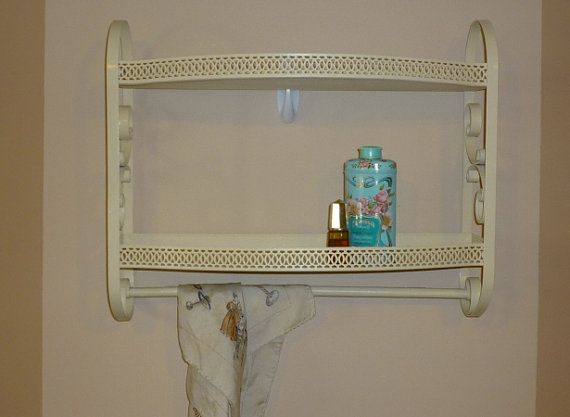 Vintage Metal Bathroom Shelf Kitchen Shelf Accent Shelf With Towel Bar Mcm 1960 39 S Metal Bathroom Shelf Bathroom Shelves Shelves
