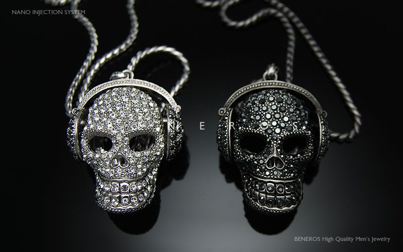 Dj headphones skull head pendant necklace crystal mens black dj headphones skull head pendant chain necklaces swarovski crystal mens silver jewelry hiphop biker mozeypictures Images