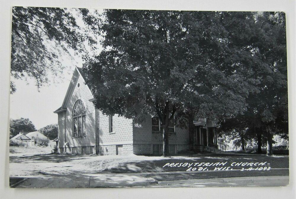 Photo of Carte postale Vtg église presbytérienne LODI WISCONSIN chapelle chrétienne RPPC non publiée